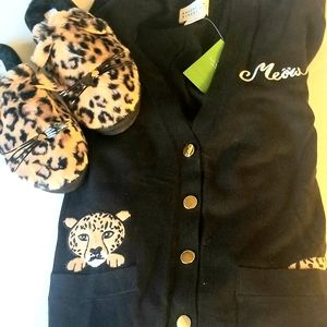 🐆 KS Leopard Combo: Cardigan and Slippers 🐆
